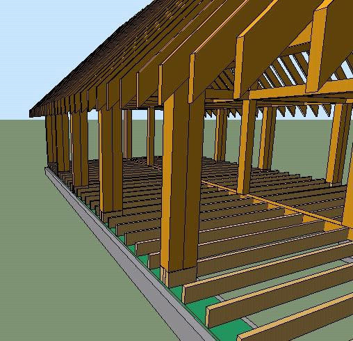 Basic Cordwood House Plans   House ConstructionThe         x          posts are doubled to provide a good surface to build the cordwood up to  You can see the extra support under the posts  as well as the treated